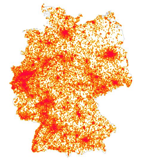 Übersichtskarte zur Jobberabdeckung von appJobber in Deutschland