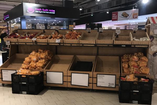 Kartoffel-Angebot bei Rewe sehr begrenzt, Folge der Hamsterkäufe, Angst vor Corona-Virus