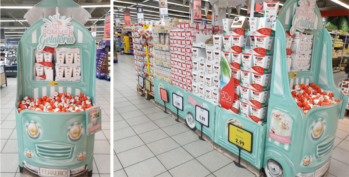 In-Store-Promotion von Ferrero: Fahrzeuge sind im Trend bei den Displays