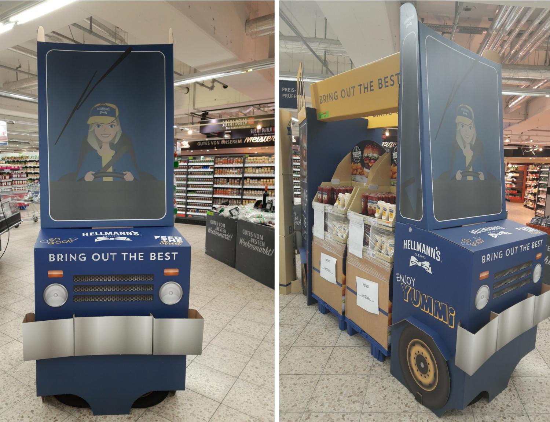 In Sachen In-Store Promotion setzt Hellmann's ebenfalls auf vier Räder und präsentiert seine Saucen in einem Lieferwagen-Display